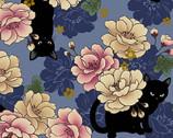 Neko Metallic - Cats Floral Blue from Quilt Gate Fabric