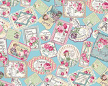 Rose Garden - Tags Blue from Quilt Gate Fabric