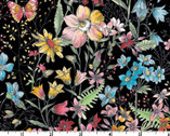Meadow Edge - Large Meadow Flower Black from Maywood Studio Fabric
