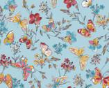 Meadow Edge - Butterflies Aqua Blue from Maywood Studio Fabric