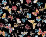 Meadow Edge - Butterflies Black from Maywood Studio Fabric