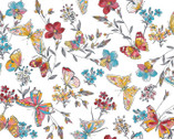 Meadow Edge - Butterflies White from Maywood Studio Fabric