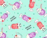 Variety Animals - Animal in Cups Mint Green from Cosmo Fabric