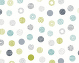 Simple Land DOUGLE GAUZE - Decorative Dots  Cool Colors Natural from Cosmo Fabric