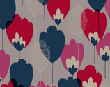 Scandinavian Woods OXFORD - Tulip Floral Grey Dark Blue from Cosmo Fabric