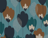 Scandinavian Woods OXFORD - Tulip Floral Blue Teal from Cosmo Fabric