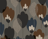 Scandinavian Woods OXFORD - Tulip Floral Grey Brown from Cosmo Fabric