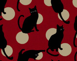 Japanese Style Cats DOBBY - Cats Circles Red from Cosmo Fabric