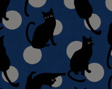 Japanese Style Cats DOBBY - Cats Circles Blue from Cosmo Fabric