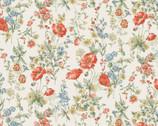 Flower Garden LAWN - Orange Poppy Wildflower Cream from Cosmo Fabric