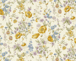 Flower Garden LAWN - Yellow Poppy Wildflower Ivory from Cosmo Fabric