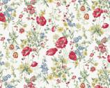 Flower Garden LAWN - Red Poppy Wildflower Cream from Cosmo Fabric