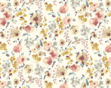 Flower Garden LAWN -Yellow Pink Wildflower Cream from Cosmo Fabric