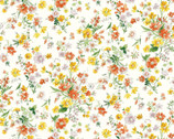 Flower Garden LAWN - Yellow Orange Toss Bouquets Cream from Cosmo Fabric