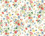 Flower Garden LAWN - Red Blue Yellow Toss Bouquets Cream from Cosmo Fabric