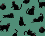 Blackboard Art - Cats Teal from Cosmo Fabric