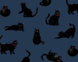 Blackboard Art - Cats Blue from Cosmo Fabric