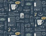 Blackboard Art - Cafe Items Food Blue from Cosmo Fabric