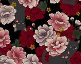 Neko Metallic - Cats Floral Black from Quilt Gate Fabric