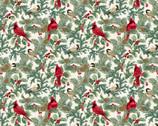 Winter Elegance - Cardinals Birds Branches Natural Metallic by Jackie Robinson from Benartex Fabrics