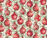 Winter Elegance - Ornaments Natural Metallic by Jackie Robinson from Benartex Fabrics