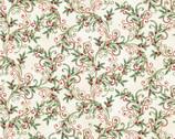 Winter Elegance - Leaf Scroll Natural Metallic by Jackie Robinson from Benartex Fabrics