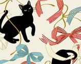 Neko Metallic - Cats Ribbons Bows Cream from Quilt Gate Fabric