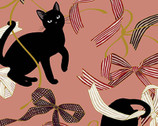 Neko Metallic - Cats Ribbons Bows Pink from Quilt Gate Fabric