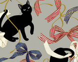 Neko Metallic - Cats Ribbons Bows Grey from Quilt Gate Fabric
