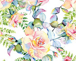 Patricia - Large Roses White from In The Beginning Fabric