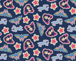 Young DC - Wonder Woman Jr Tossed Stickers Navy from Camelot Fabrics
