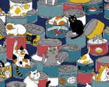 Variety Animals - Cats Cans Teal Blue from Cosmo Fabric