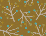 Scandinavian Woods OXFORD - Berry Branches Trees Mustard Yellow from Cosmo Fabric
