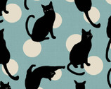 Japanese Style Cats DOBBY - Cats Circles Blue Aqua from Cosmo Fabric