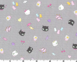 Petite Design - Pop Cat Earthy Grey from Kokka Fabric