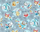 Costume Animal OXFORD - In The Sea Fish Blue Grey from Kokka Fabric