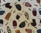 Patterned Animals CANVAS - Cats Earthy Multi Natural from Kokka Fabric