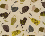 Patterned Animals CANVAS - Cats Yellow Multi Natural from Kokka Fabric
