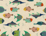 Patterned Animals CANVAS - Fish Multi from Kokka Fabric