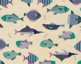 Patterned Animals CANVAS - Fish Multi Lavender from Kokka Fabric