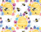 Spring Florals - Bee Harmony White from David Textiles Fabrics