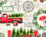 Christmas Deck The Halls Red Truck by Kate Ward Thacker from Springs Creative Fabric