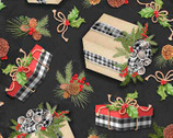 Christmas Holiday Gift Toss Black by Nicole Tamarin from Springs Creative Fabric