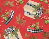 Christmas Holiday Gift Toss Red by Nicole Tamarin from Springs Creative Fabric