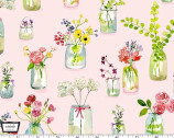Picnic by the Lake - Life is Sweet Flower Jars Pink from Michael Miller Fabric