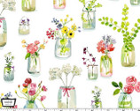 Picnic by the Lake - Life is Sweet Flower Jars White from Michael Miller Fabric