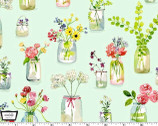 Picnic by the Lake - Life is Sweet Flower Jars Green from Michael Miller Fabric
