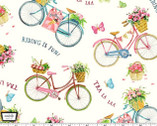 Picnic by the Lake - Tra La Laa Bikes Cream from Michael Miller Fabric