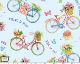 Picnic by the Lake - Tra La Laa Bikes Blue from Michael Miller Fabric