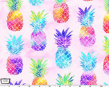Good Vibes Only - Tropical State of Mind Pineapples Pink from Michael Miller Fabric